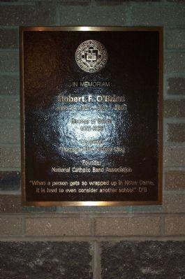 O'Brien Plaque in Ricci Band Building image. Click for full size.