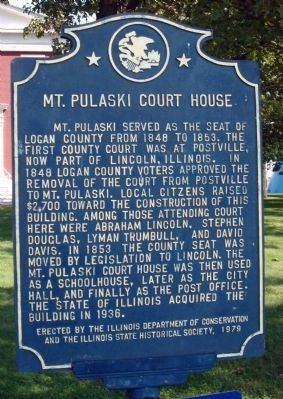 Mt. Pulaski Court House Marker image. Click for full size.