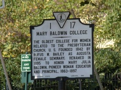 Mary Baldwin College Marker image. Click for full size.