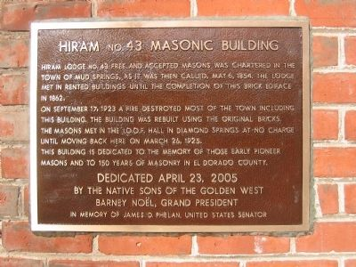Hiram No.43 Masonic Building Marker image. Click for full size.