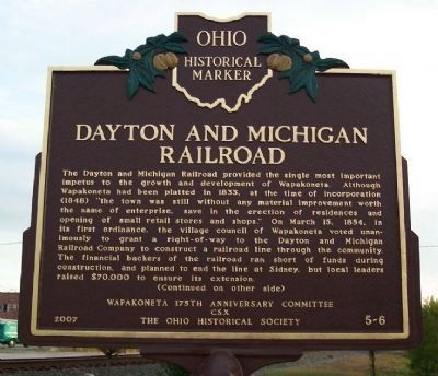 Dayton and Michigan Railroad Marker (Side A) image. Click for full size.