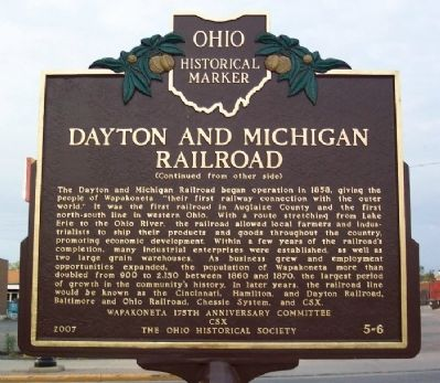 Dayton and Michigan Railroad Marker (Side B) image. Click for full size.