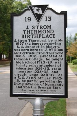 J. Strom Thurmond Birthplace Marker - Front image. Click for full size.