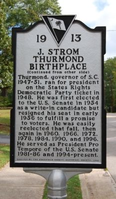 J. Strom Thurmond Birthplace Marker - Reverse image. Click for full size.