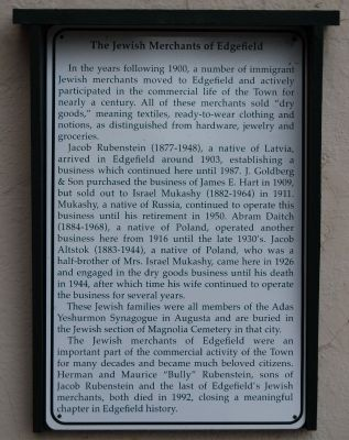 The Jewish Merchants of Edgefield Marker image. Click for full size.
