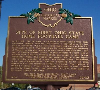 Site of First Ohio State Home Football Game Marker (Side A) Photo, Click for full size