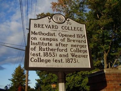 Brevard College Marker image. Click for full size.