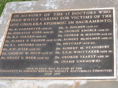 The 17 Doctors of the 1850 Sacramento Cholera Epidemic Marker image. Click for full size.