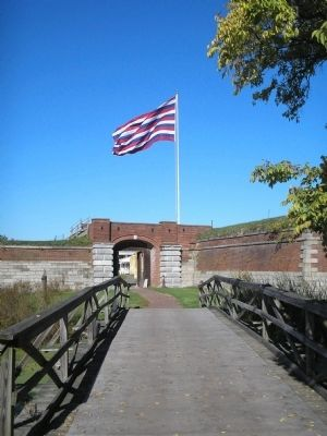Main Gate and Flag at Fort Mifflin image. Click for full size.