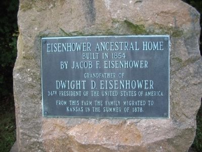 Eisenhower Ancestral Home Marker image. Click for full size.