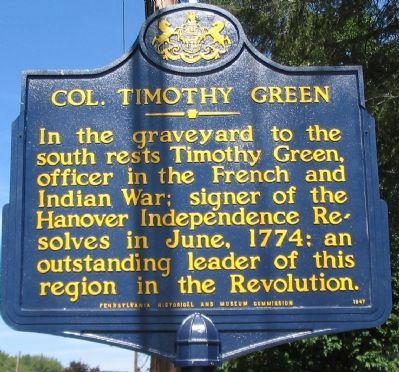 Col. Timothy Green Marker Photo, Click for full size