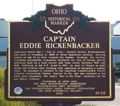 Captain Eddie Rickenbacker Marker </b>(front) image. Click for full size.