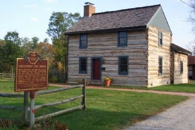 Groveport Log House and Marker image. Click for full size.