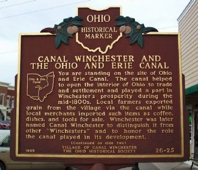 Canal Winchester and the Ohio and Erie Canal Marker </b>(front) image. Click for full size.