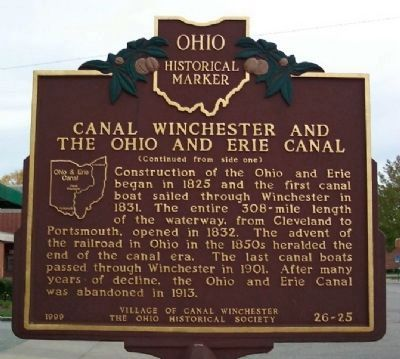 Canal Winchester and the Ohio and Erie Canal Marker </b>(reverse) image. Click for full size.