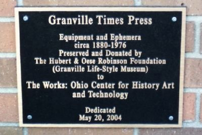 Granville Times Press Marker image. Click for full size.