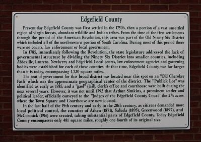 Edgefield County Marker image. Click for full size.