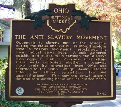 The Anti-Slavery Movement Marker image. Click for full size.