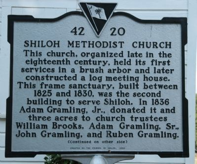 Shiloh Methodist Church Marker </b>front Photo, Click for full size