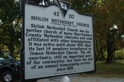 Shiloh Methodist Church Marker </b>reverse image. Click for full size.