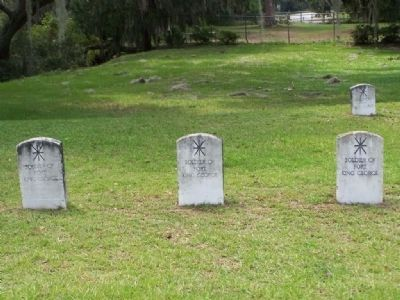Some of The Soldiers Of Fort King George gravestones, close-up image. Click for full size.