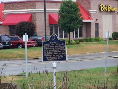 The marker is across the street from a Bob Evans restaurant. Photo, Click for full size