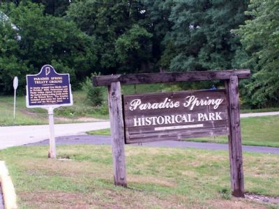 The Paradise Spring Treaty Ground Marker and the park sign. image. Click for full size.