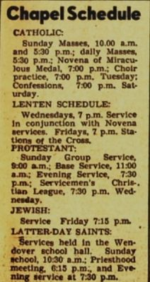 Service Schedule, March 30, 1944 image. Click for full size.