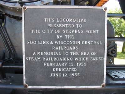 Plaque on Locomotive 2713 image. Click for full size.