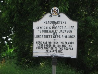 "Headquarters of Generals Robert E. Lee, ""Stonewall"" Jackson and Longstreet Marker image. Click for full size."