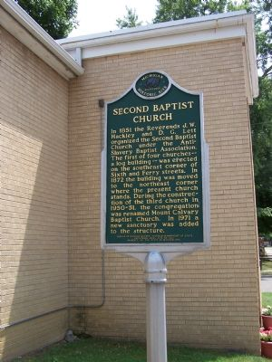Second Baptist Church Marker image. Click for full size.