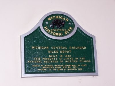 Michigan Central Railroad Niles Depot Marker image. Click for full size.
