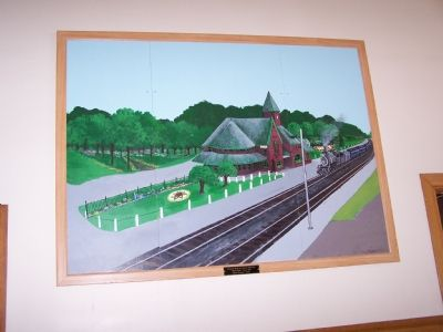 Painting of the Michigan Central Railroad Niles Depot located inside the station Photo, Click for full size