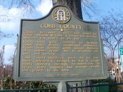 This marker tells people a little bit about cobb county. image. Click for full size.