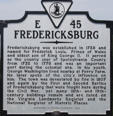 Fredericksburg Marker Photo, Click for full size