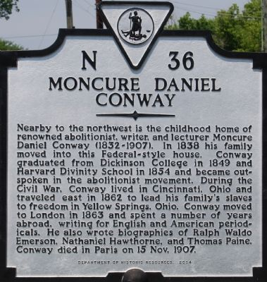 Moncure Daniel Conway Marker image. Click for full size.