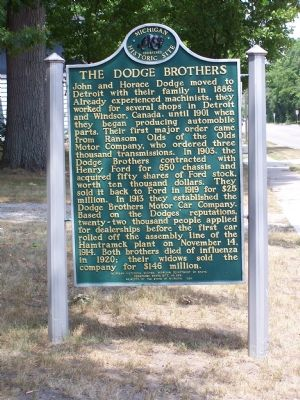 The Dodge Brothers side of the marker image. Click for full size.