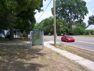 The lot where the Dodge home once stood, is now empty except for the marker. image. Click for full size.