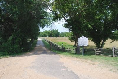 Marker at entrance to farm site Photo, Click for full size