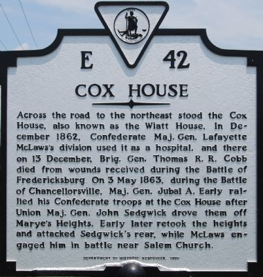 Cox House Marker image. Click for full size.