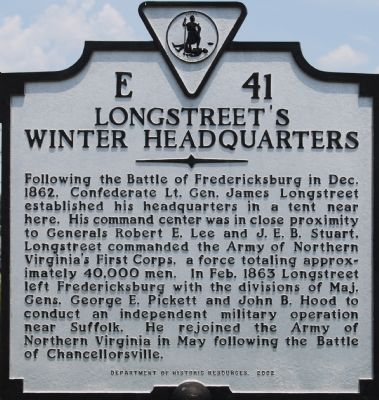 Longstreet's Winter Headquarters Marker image. Click for full size.