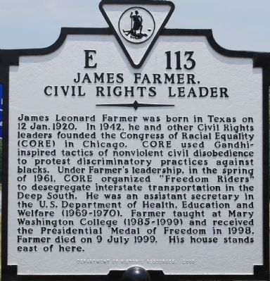 James Farmer, Civil Rights Leader Marker image. Click for full size.