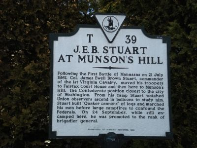 J.E.B. Stuart at Munson's Hill Marker image. Click for full size.