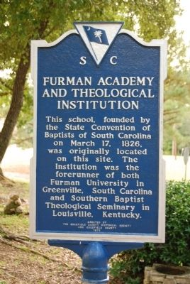 Furman Academy and Theological Institute Marker Photo, Click for full size