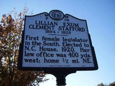 Lillian Exum Clement Stafford Marker image. Click for full size.