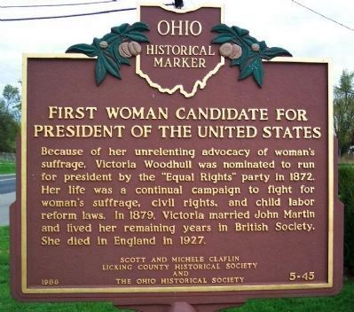 First Woman Candidate for President of the United States Marker image. Click for full size.