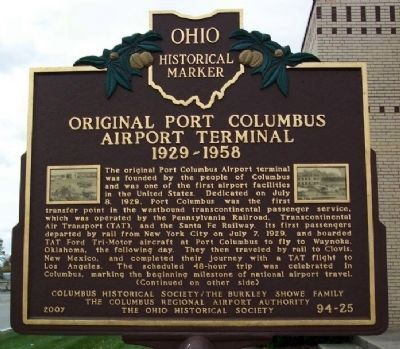 Original Port Columbus Airport Terminal, 1929-1958 Marker image. Click for full size.