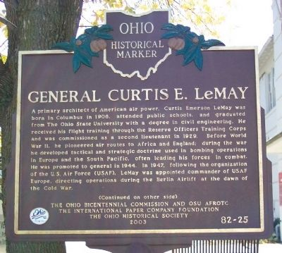 General Curtis E. LeMay Marker (side A) image. Click for full size.