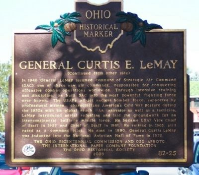 General Curtis E. LeMay Marker (side B) image. Click for full size.