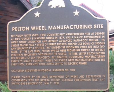 Pelton Wheel Manufacturing Site Marker image. Click for full size.